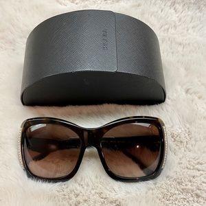 Prada Crystal Sunglasses SPR 11L. Tortoise Brown